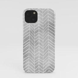 Gray Watercolor Herringbone Pattern (white/gray) iPhone Case