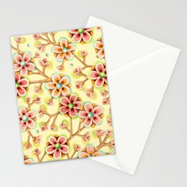 Candy Apple Blossom Yellow Stationery Cards