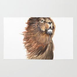 lion king of animals watercolor Rug
