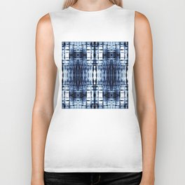 Blue Shibori Plaid Biker Tank