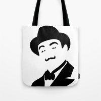 hercules Tote Bags featuring Hercules Poirot by b & c