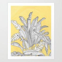 Banana Leaves Illustration - Yellow Art Print