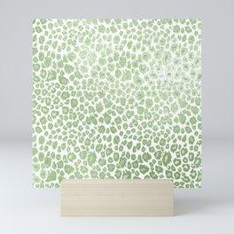 Leopard pattern, faux metallic mint green Mini Art Print