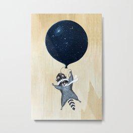 Raccoon Balloon Metal Print