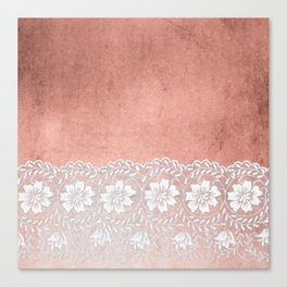 White floral luxury lace on pink rosegold grunge backround Canvas Print