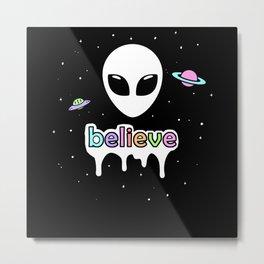 Aesthetic Goth E Girl Alien Space Metal Print