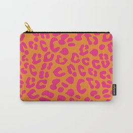80s Leopard Print in Orange and Hot Pink Carry-All Pouch