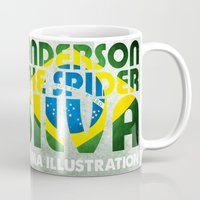 wes anderson Mugs featuring Anderson Silva Artwork by MMA Illustration