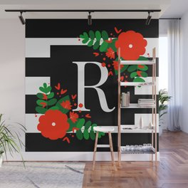 R - Monogram Black and White with Red Flowers Wall Mural