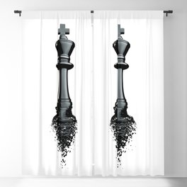 Farewell to the King / 3D render of chess king breaking apart Blackout Curtain