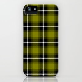 OLIVE (#808000) color themed SCOTTISH TARTAN Checkered Fabric Pattern texture background iPhone Case