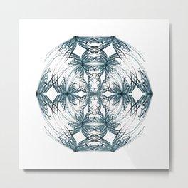 Mandala blue and black Metal Print