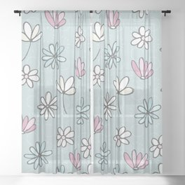 Cute Floral Ditsy Pattern Sheer Curtain