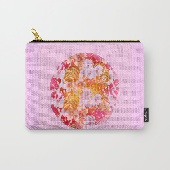 pink floral in a circle Carry-All Pouch