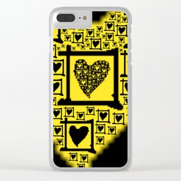 Yellow Toxic Hearts Clear iPhone Case