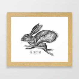 Animal Art | Hare and Quote by Magda Opoka | Animals | Black and White | black-and-white | bw Framed Art Print