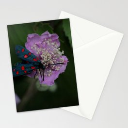 New forest burnet on purple flower Stationery Cards