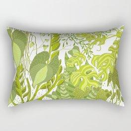 Plant Life in White Rectangular Pillow
