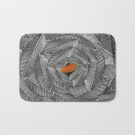 Orange Leaf On Grey And Silver Leaves - Beautiful Background - Autumn mood - #Society6 #buyart Bath Mat