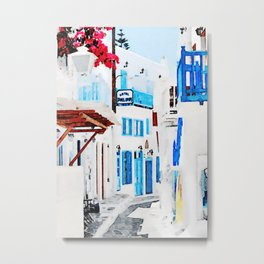 Watercolor Painting of Mykonos Metal Print