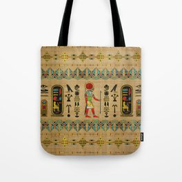 Egyptian Re-Horakhty  - Ra-Horakht  Ornament on papyrus Tote Bag