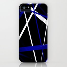 Seamless Royal Blue and White Stripes on A Black Background iPhone Case