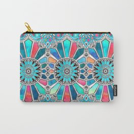 Iridescent Watercolor Brights on White Carry-All Pouch