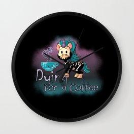 Knarf the Unicorn - Dying for a Coffee - Kawaii Wall Clock