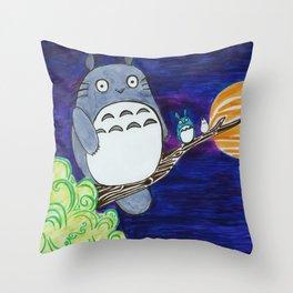 Midnight Totoro Throw Pillow