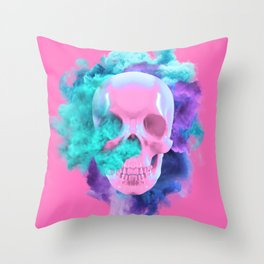 Colored Smoking Skull Throw Pillow