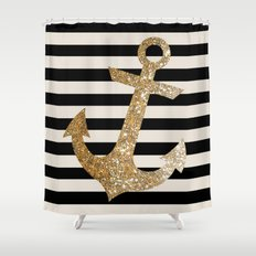 GOLD GLITTER ANCHOR IN BLACK AND NUDE Shower Curtain