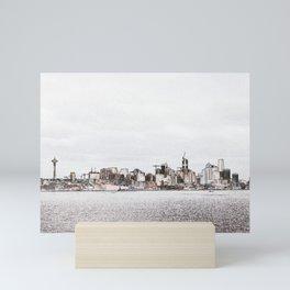 Seattle skyline 2 edges (light) Mini Art Print