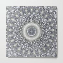 Silver and Ivory Mandala Metal Print