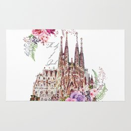 Barcelona Spain La Sagrada Familia Vintage Rug