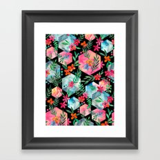 Whimsical Hexagon Garden on black Framed Art Print