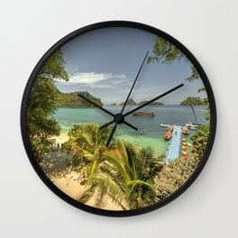 Tropical Harbour Wall Clock