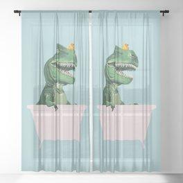 Playful T-Rex in Bathtub in Green Sheer Curtain