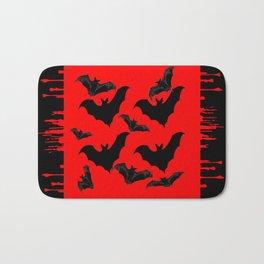 RED HALLOWEEN BATS ON BLEEDING RED ART DESIGN Bath Mat