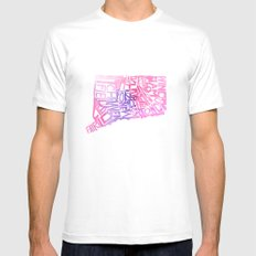 Typographic Connecticut - pink watercolor White Mens Fitted Tee MEDIUM
