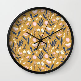 Mustard Floral Pattern Wall Clock