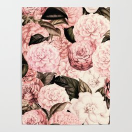Vintage & Shabby Chic Pink Floral camellia flowers watercolor pattern Poster