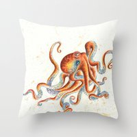 octopus Throw Pillows featuring Octopus by Patrizia Ambrosini