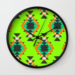 Bright shapes in neon green Wall Clock