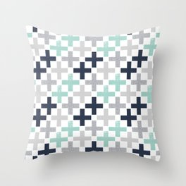 Swiss cross pattern minimal nursery basic grey and white camping cabin chalet decor Throw Pillow