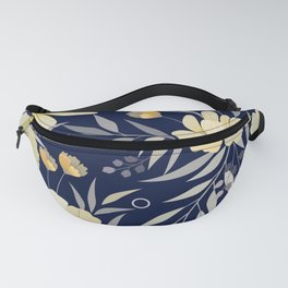 Modern, Floral Prints, Yellow and Navy Blue Fanny Pack