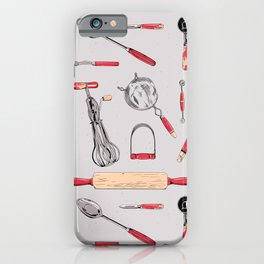 pattern: vintage kitchen tools (red) iPhone Case