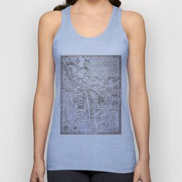 Vintage Map of Cambridge England (1574) Unisex Tank Top
