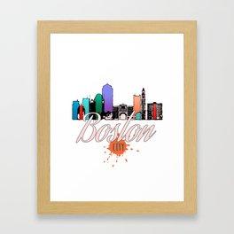 Colorful Boston Skyline Art Tee Framed Art Print