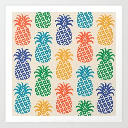 Retro Mid Century Modern Pineapple Pattern in Multi Colors Art Print