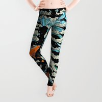 fish Leggings featuring FISH BONE  by Huebucket